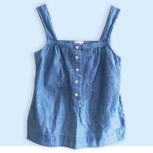 J. Crew Chambray Straight Neck Tank  Like New!